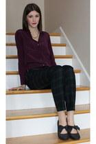 purple Club Monaco blouse - JewelMint necklace - forest green Club Monaco pants