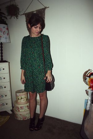 green H&M dress - black purse - black Steve Madden shoes