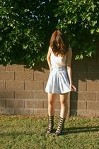 blue skirt - black potion boots Jeffrey Campbell Potion boots shoes