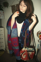 black Forever 21 scarf - blue Forever 21 coat - white Urban Outfitters top - ora