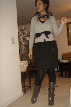 H&M top - H&M skirt - Forever21 tights - Wet Seal boots - H&M scarf