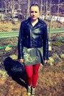 Heather-gray-hand-me-down-kappahl-dress-black-leather-jacket-saints-and-mortal