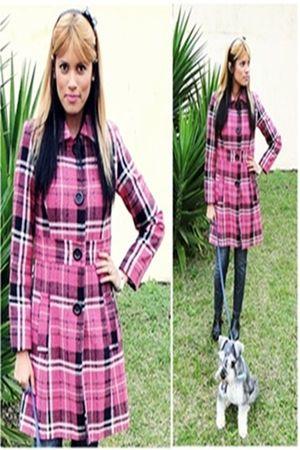 pink Zara coat - silver schinauzzer