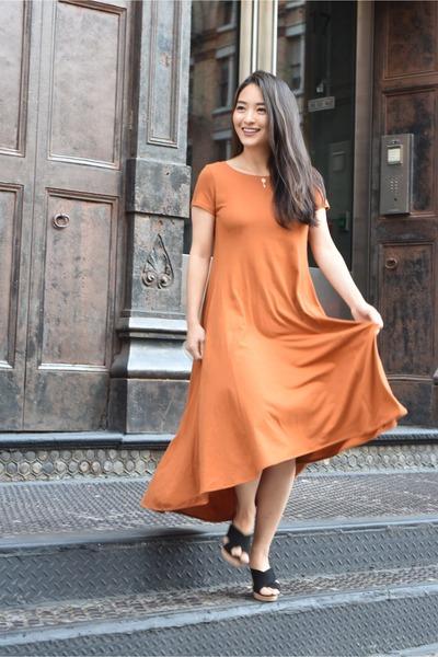 carrot orange maxi t shirt Elegantees dress