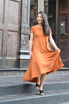 carrot orange maxi t shirt Elegantees dress