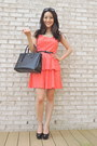 Carrot-orange-peplum-eyelet-forever-21-dress-black-saffiano-prada-bag