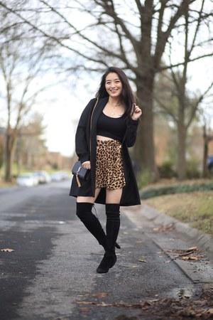 black crop Zara top - bronze skort Zara skirt
