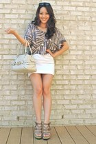 white mini BCBGMAXAZRIA skirt - beige Gucci bag - black Cole Haan sunglasses