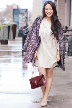 beige fringe Joh Apparel dress - deep purple Chicwish coat