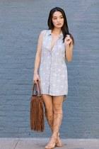 periwinkle Velvet Heart dress - dark brown fringe tote Charlotte Russe bag