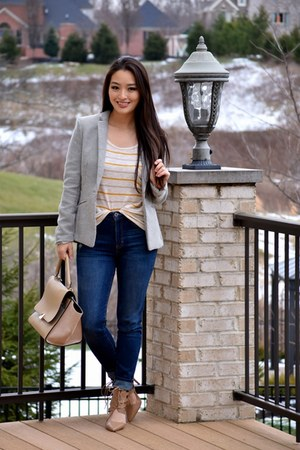 heather gray fitted H&M blazer - navy skinny Aeropostale jeans