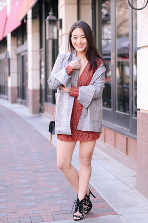 heather gray checkered Chicwish blazer - burnt orange lace mini asos dress
