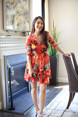 red floral asos dress - blue Full Line Collection earrings