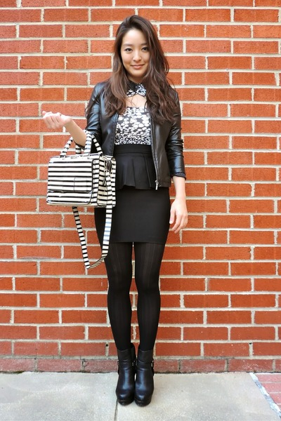 black asos boots - black ann taylor jacket - black solid talbots tights