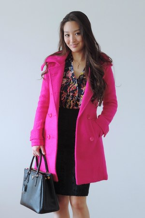 black lace pencil Darling skirt - hot pink wool OASAP coat - black Prada bag