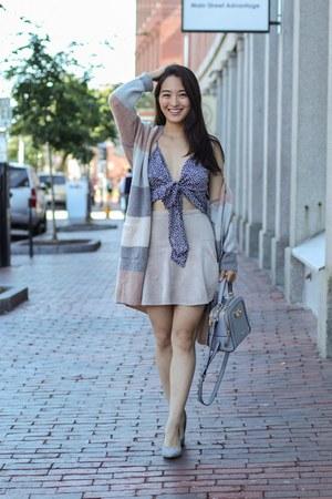 beige faux suede mini BCBG skirt