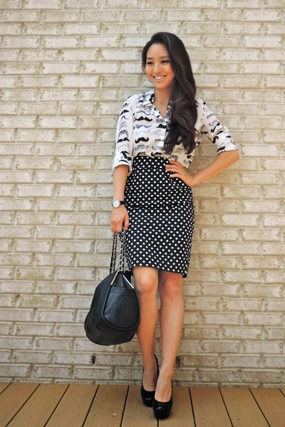 white JYJZ top - black Candies shoes - black Chanel bag