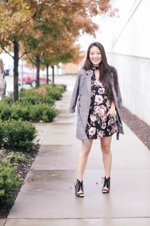 black floral Kmart dress - charcoal gray Zara jacket - black lace up Qupid heels