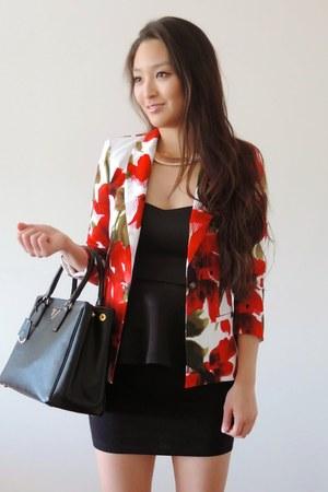 red floral Oak73 blazer - black Prada bag - black bodycon Charlotte Russe skirt