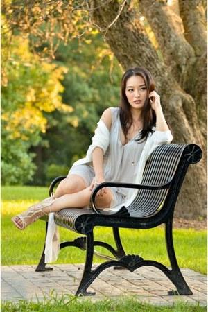 beige drape maxi bcbg max azria dress - white knit Almost Famous cardigan