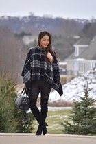 black poncho Burberry top - black over-the-knee stuart weitzman boots