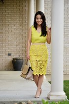 yellow tank banana republic top - tan celine-inspired Chicwish bag