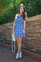 blue paisley printed Charlotte Russe dress - white LucyMint bag