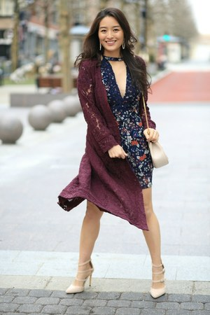 navy floral cutout asos dress - maroon lace duster Chaser cardigan