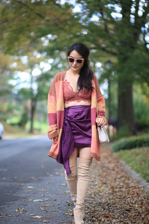 deep purple mini Red dress skirt