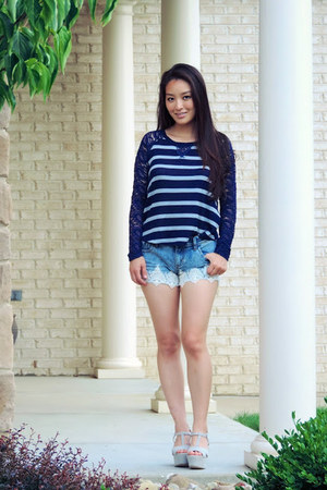 navy lace knit Almost Famous top - blue lacy pearl Almost Famous shorts