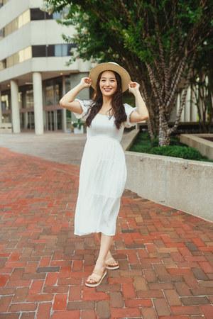 white Morning Lavender dress
