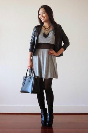 black asos boots - heather gray mesh deb dress - black saffiano Prada bag