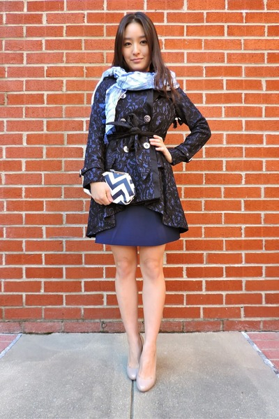 navy Spiegel coat - navy madewell dress - light blue printed Nepali by TDM scarf