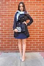 navy Spiegel coat - navy madewell dress - light blue printed Nepali by TDM scarf