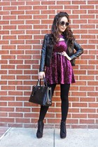 black Shop JuneJuly boots - maroon Motel dress - black ann taylor jacket