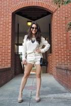black Stella & Dot necklace - beige slitted-arm OMG Fashion sweater