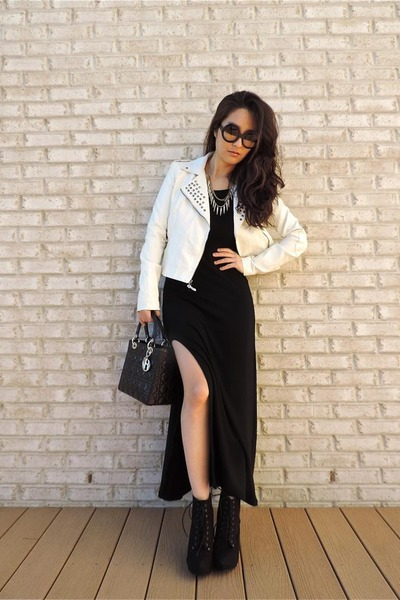 black PERSUNMALL dress - white Charlotte Russe jacket - black christian dior bag