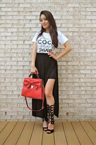 white graphic Style Lately t-shirt - red bow OASAP bag