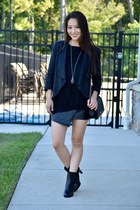 black faux suede INC top - black naturalizer boots - black draped Barneys blazer