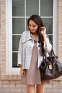 Tan-good-row-clothing-dress-dark-brown-bucket-marc-jacobs-bag