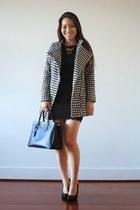 white houndstooth OASAP coat - black lacy deb dress - black Prada bag