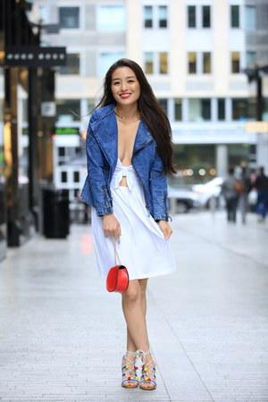 white asos dress - blue quilted denim OASAP jacket