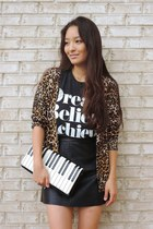 brown animal print Our World Boutlque cardigan - white piano kate spade bag
