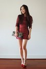 Red-sequin-mini-tobi-dress-brown-deb-bag-red-forever-young-shoes-heels