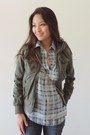Blue-skinny-bongo-jeans-army-green-military-bomber-charlotte-russe-jacket
