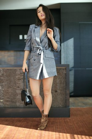 charcoal gray checkered Zara romper - brown animal print Macys boots