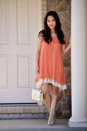 carrot orange lace Shop Sil Boutique dress - eggshell crossbody AmiClubWear bag