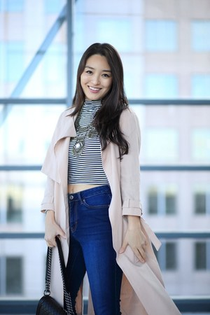 white AmiClubWear top - navy Aeropostale jeans - peach All Saints jacket