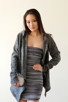 gray wool Betabrand cardigan - heather gray Pink Basis dress
