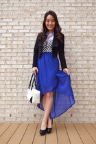 blue high-low Iris dress - black cropped bcbg max azria blazer